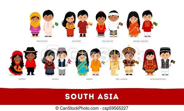set, aziaten, nationale, karakter, clothes., asia., spotprent, zuiden - csp59565227
