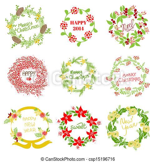 set, ouderwetse , krans, -, nieuw, vector, ontwerp, jaar, plakboek, kerstmis - csp15196716