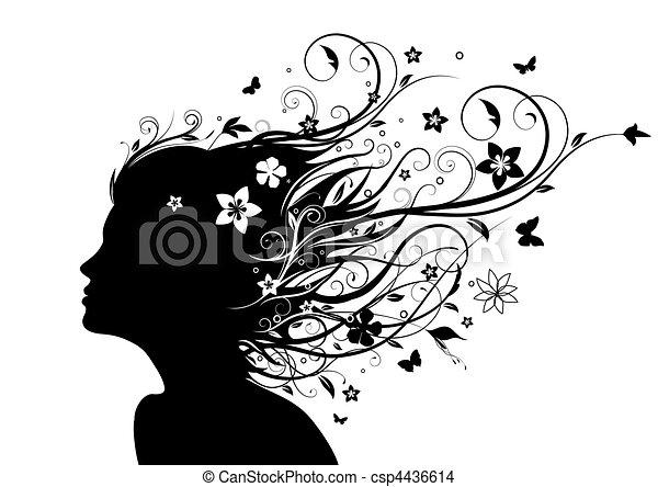 silhouette, gezicht - csp4436614