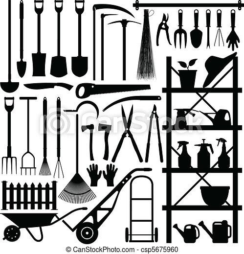 silhouette, het tuinieren hulpmiddelen - csp5675960