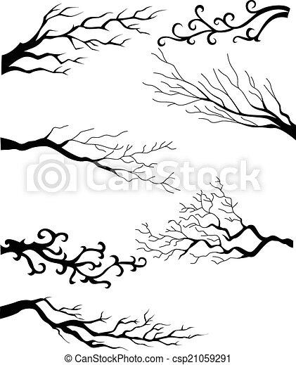 silhouette, takken, boompje - csp21059291