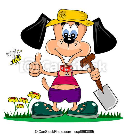 spotprent, dog, tuinieren - csp8963085