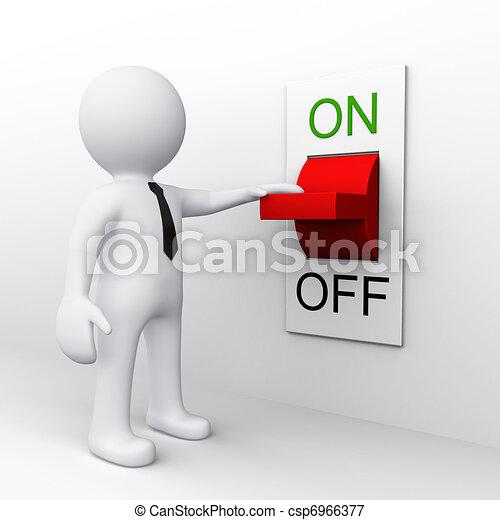 staand, switch, 3d, man - csp6966377