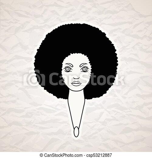 stijl, vrouw, paardenbloem, haar, african., verticaal - csp53212887