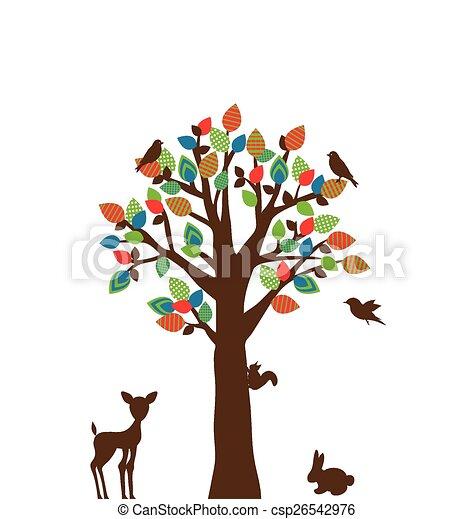 stylized, boompje, kleurrijke - csp26542976