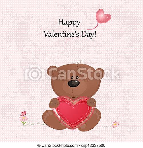 teddy beer, valentijn - csp12337500