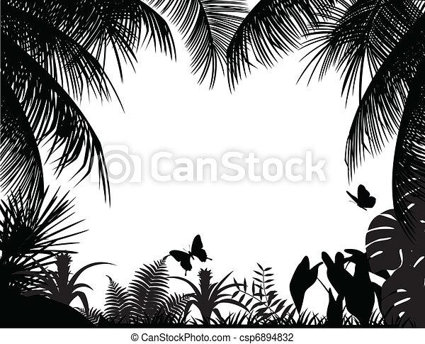 tropische , silhouette, bos - csp6894832