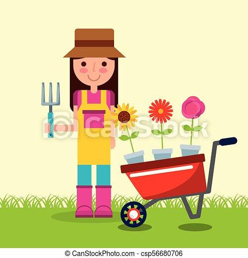 tuin, pot, kruiwagen, meisje, bloemen, tuinman - csp56680706