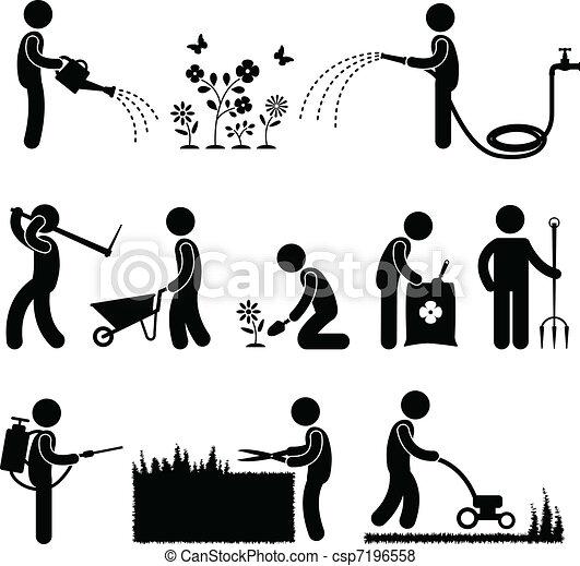 tuinieren, werken, arbeider, tuinman - csp7196558