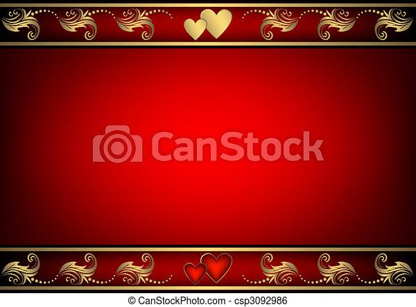 valentijn, achtergrond, rood, hartjes - csp3092986