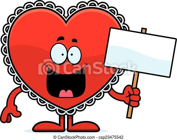 valentijn, spotprent, meldingsbord - csp23475542