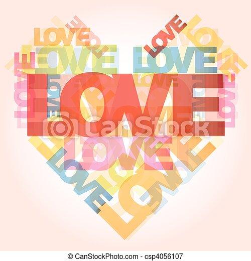 valentijnshart, liefde, woorden - csp4056107
