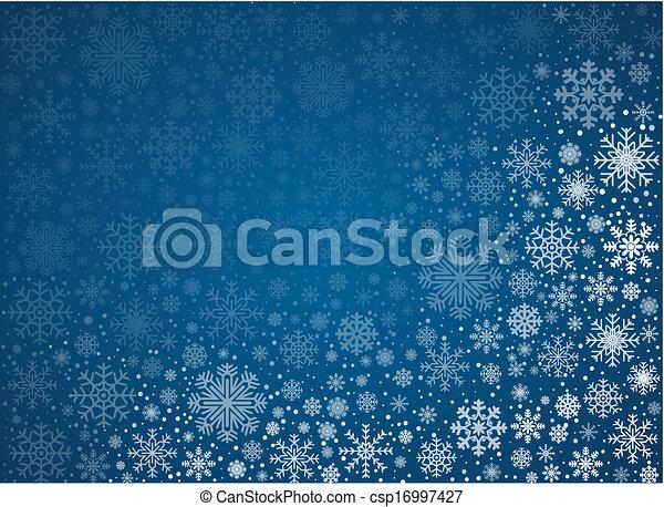 vector, ijzig, achtergrond, snowflakes - csp16997427