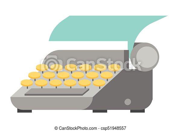 vector, papier, blad, illustration., typemachine - csp51948557