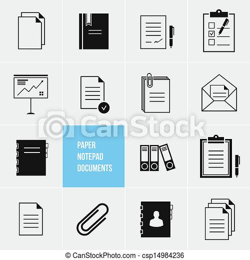 vector, papier, documenten, pictogram, notepad - csp14984236