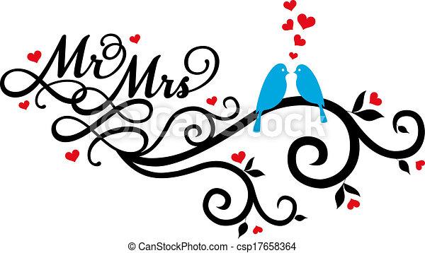vector, vogels, mevr., trouwfeest, m. - csp17658364