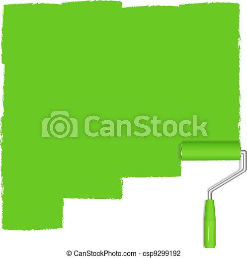 verf , groene achtergrond, rol - csp9299192