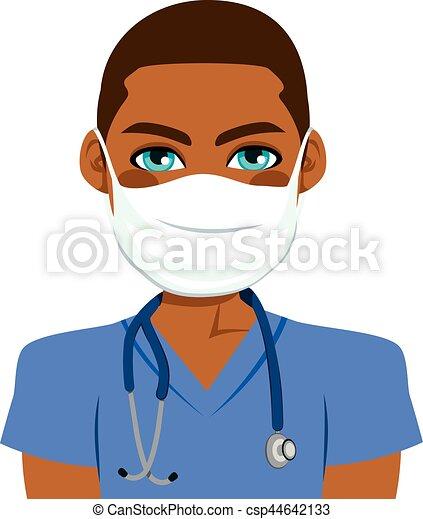 verpleegkundige, mannelijke , black  - csp44642133