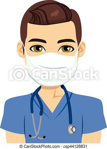 verpleegkundige, mannelijke , masker - csp44128831