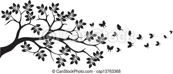 vlinder, boompje, silhouette - csp13763368