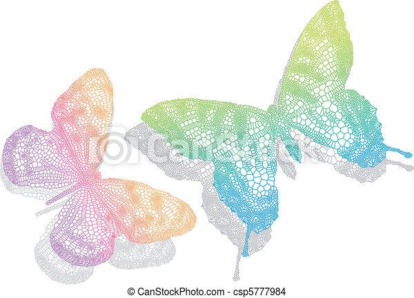 vlinder, vector, schaduw - csp5777984