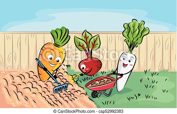 voorbereiding, gewas, terrein, wortel, illustratie, mascotte - csp52992383