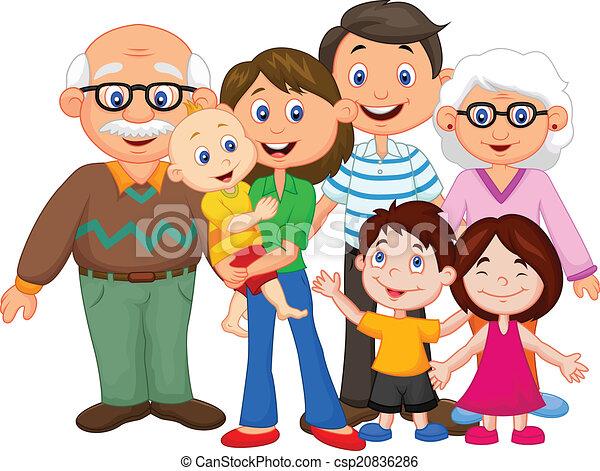 vrolijke , spotprent, gezin - csp20836286