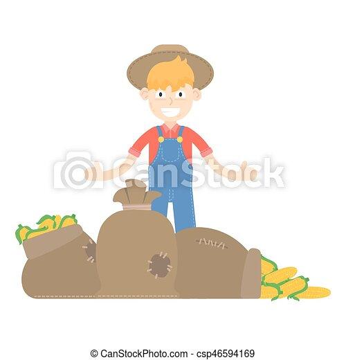vrolijke , tuinbroek, tuinman, karakter, vrijstaand, voorwerp, persoon, landbouw, tuinieren, mannelijke , zakelijk, ontwerp, tuin, werken, landbouw, plat, natuur, gezonde , spotprent, achtergrond, vector, beroep, werktuig, kaukasisch, man, groente, landelijk, doosje, koren, maïs, meldingsbord, organisch, boerderij, voedingsmiddelen, pictogram, jonge, menselijk, hoedje, symbool, fris, illustratie, natuurlijke , arbeider, buiten, landbouwkundig, oogsten, farmer, plant, groentes - csp46594169