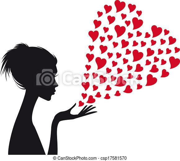vrouw, vector, rood, hartjes - csp17581570