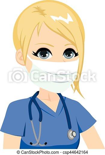 vrouwlijk, medisch, verpleegkundige, masker - csp44642164