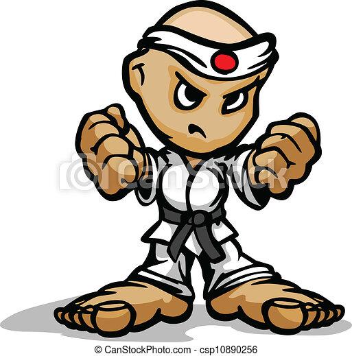 vuisten, kunsten, vechter, beeld, gezicht, karate, krijgshaftig, vector, vastberaden, spotprent, mascotte - csp10890256