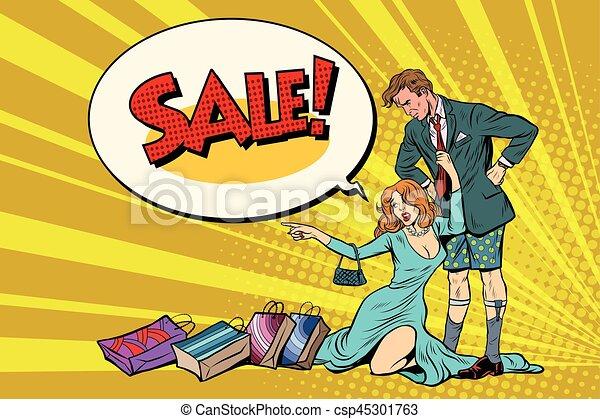 wants, vrouw, verwoest, verkoop, zonder, echtgenoot, broek - csp45301763