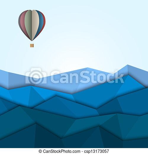 warme, papier, bergen, balloon, lucht - csp13173057