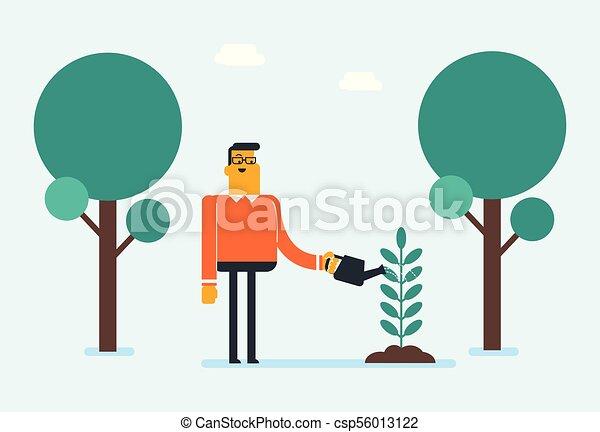 watering, jonge, kaukasisch, witte , plant., tuinman - csp56013122