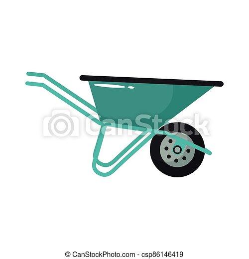 werktuig, plat, tuinieren, stijl, kruiwagen - csp86146419