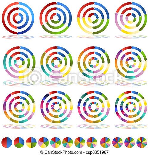 wiel, set, doel, tabel, pijl beeld - csp8351967
