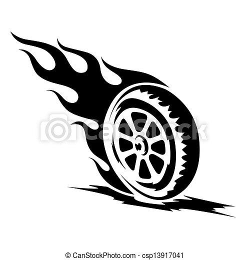 wiel, tatoeëren, whit, black , burning - csp13917041
