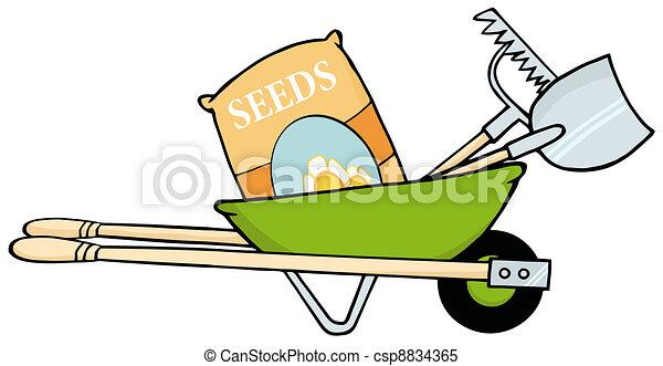 zaden, groene, kruiwagen - csp8834365