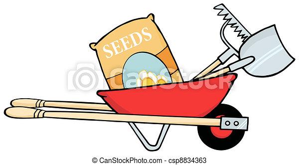 zaden, rood, kruiwagen - csp8834363