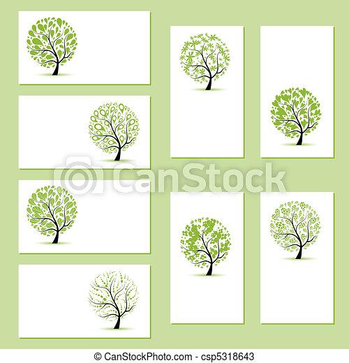 zakelijk, jouw, bomen, floral, vastgesteld ontwerp, kaarten - csp5318643