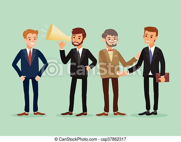 zakelijk, vrolijke , mensen, kaukasisch, staand, hipster, spotprent, illustratie - csp37862317