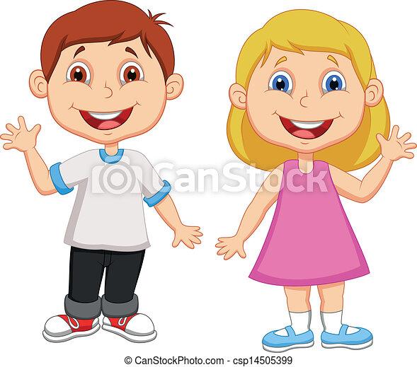 zwaaiende , jongen, meisje, spotprent, hand - csp14505399