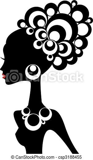 zwarte vrouw, vector - csp3188455